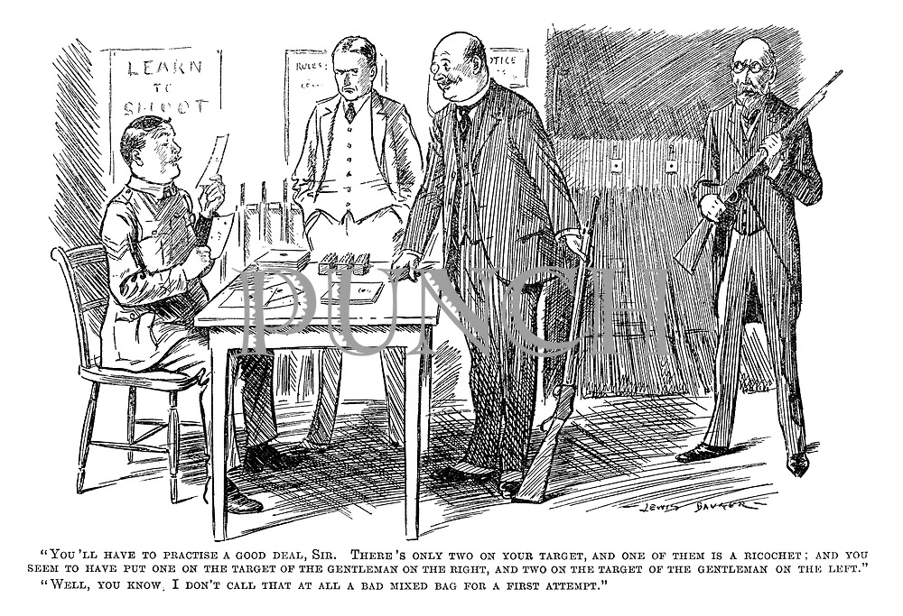 """""""You'll have to practise a good deal, sir. There's only two on your target, and one of them is a ricochet; and you seem to have put one on the target of the gentleman on the right, and two on the target of the gentleman on the left."""" """"Well, you know, I don't call that at all a bad mixed bag for a first attempt."""""""