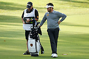 February 16th 2017, Lake Karrinyup Country Club, Perth, Western Australia, Australia; ISPS Handa World Super 6 Perth Golf Tournament Day 1; Louis Oosthuizen  (RSA) checks his distance with his caddy for his second shot on the 11th fairway during the first round of the ISPS Handa World Super 6 Golf Tournament;
