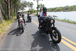 Leticia Cline  (R) and Kissa Von Addams, both of the Iron Lillies riding through Tomoka State Park during Daytona Bike Week 75th Anniversary event. FL, USA. Thursday March 3, 2016.  Photography ©2016 Michael Lichter.
