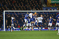 Scott Dann of Crystal Palace (6) heads the ball home to score his teams 1st goal. Barclays Premier league match, Everton v Crystal Palace at Goodison Park in Liverpool, Merseyside on Monday 7th December 2015.<br /> pic by Chris Stading, Andrew Orchard sports photography.