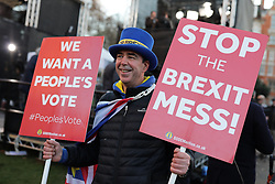 © Licensed to London News Pictures. 12/12/2018. London, UK. Anti-Brexit protester Steve Bray on College Green among broadcasters. Prime Minister Theresa May faces a vote of no confidence from her own party. Photo credit: Rob Pinney/LNP