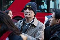 London, UK. 22nd January, 2019. Chris Williamson, Labour MP for Derby North, shows solidarity with support staff at the Department for Business, Energy and Industrial Strategy (BEIS) represented by the Public and Commercial Services (PCS) union on the picket line after beginning a strike for the London Living Wage of £10.55 per hour and parity of sick pay and annual leave allowance with civil servants. The strike is being coordinated with receptionists, security staff and cleaners at the Ministry of Justice (MoJ) represented by the United Voices of the World (UVW) trade union.