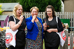 Pictured: Annabelle Ewing was joined in the taste test by nursery workers Elaine Baird and Emma Barkley <br /> <br /> Community safety minister, Annabelle Ewing MSP joined staff, parents and children at Bright Sparks Nursery in Edinburgh to sample Bitrex, the most bitter substance in the world. Britex can be added to products, such as liquitabs, to protect small children. The visit was also to raise awareness of Child Safety Week.  <br /> Ger Harley | EEm 8 June 2016