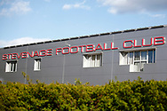 Ground shot of the front of Stevenage FC during the EFL Sky Bet League 2 match between Stevenage and Bradford City at the Lamex Stadium, Stevenage, England on 5 April 2021.