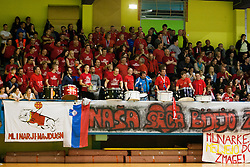 Supporters of ZRK Mlinotest Ajdovscina during handball match between ZRK Mlinotest Ajdovscina and RK Zagorje in 17th Round of Slovenian Women Handball League 2015/16 on April 6, 2016 in Sports hall Police Ajdovscina, Ajdovscina, Slovenia. Photo By Urban Urbanc / Sportida