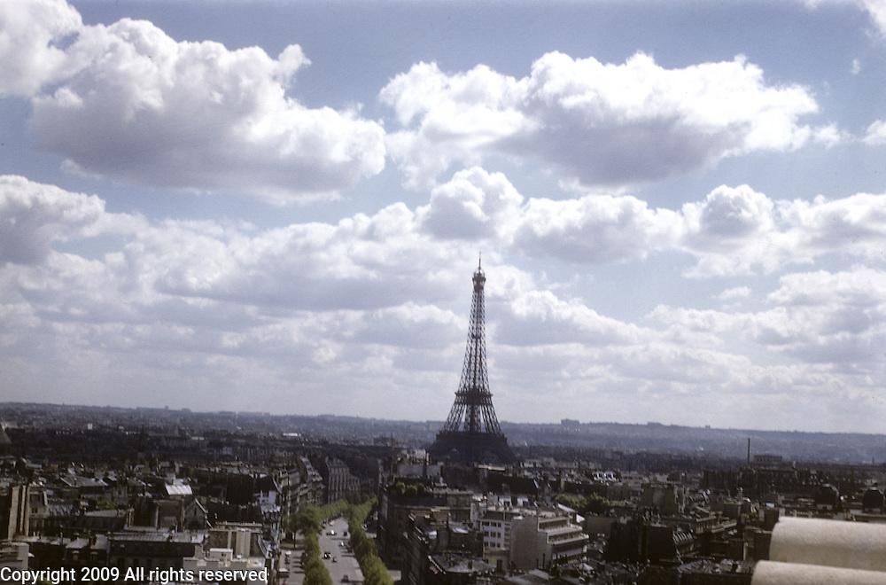 Paris, France in 1959. Eiffel Tower.