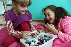 Girls playing with make-up