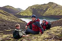 Andri Snær, Margrét og Hlynur Snær í Fögrufjöllum, austan við Langasjó.