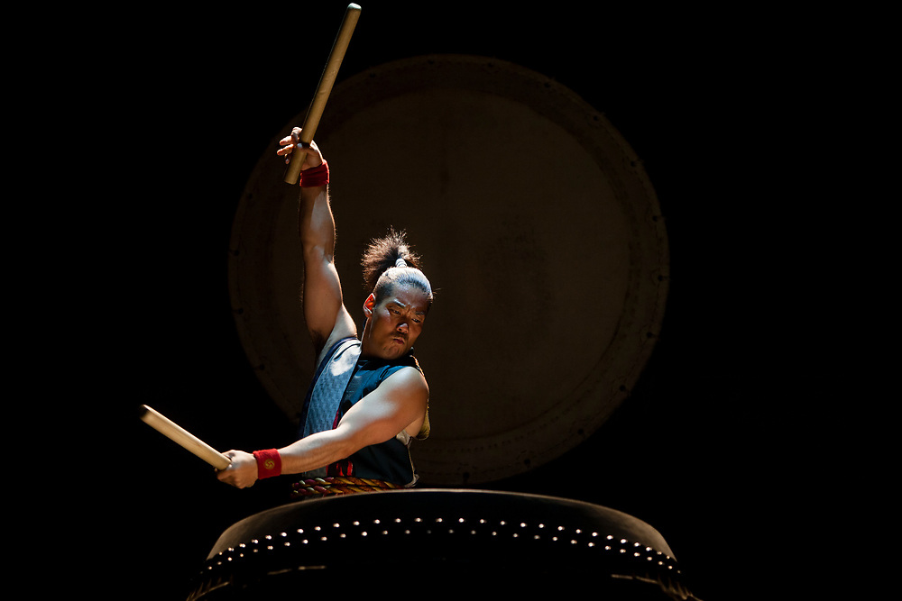 """A member of the Japanese drummer band """"Yamato - The Drummers of Japan"""" performs during the opening night of the 2012 Israel Festival, at the Hebrew University in Jerusalem, Israel, on May 24, 2012."""