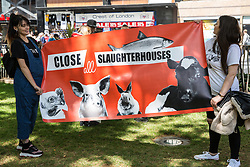 London, UK. 8 June, 2019. Animal rights and vegan campaigners assemble for the March To Close All Slaughterhouses to call for the abolition of the breeding, fishing and slaughter of animals. The activists claim that 164 million land animals and more than 2.74 billion aquatic animals are killed every day.
