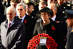 Jeremy Corbyn and Prime MinisterTheresa May during the remembrance service at the Cenotaph memorial in Whitehall, central London, on the 100th anniversary of the signing of the Armistice which marked the end of the First World War.