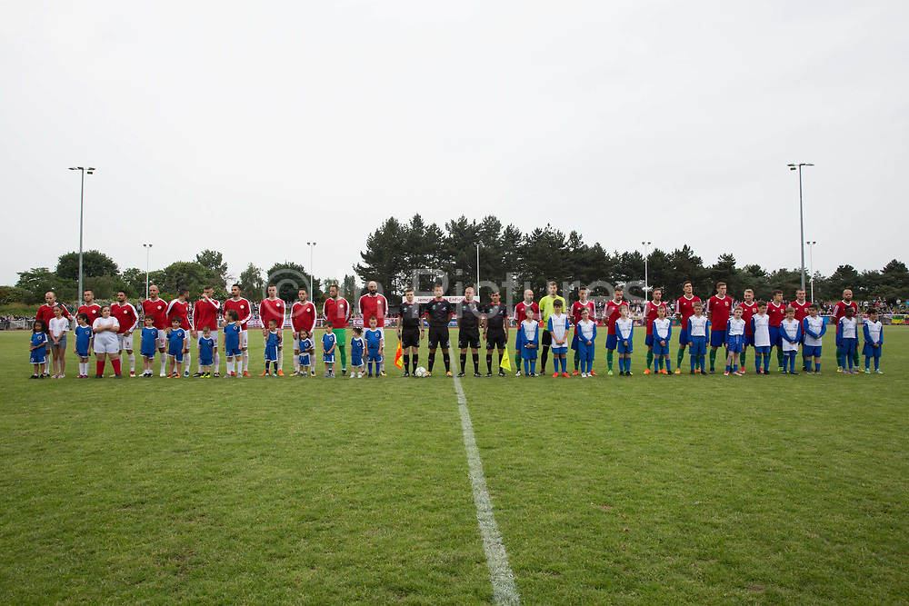 Karpatalya (RIGHT) beat Northern Cyprus (LEFT) 3 -2 in penalties during the Conifa Paddy Power World Football Cup finals on the 9th June 2018 at Queen Elizabeth II Stadium in Enfield Town in the United Kingdom. Team mates from the Turkish Republic of Northern Cyprus  take on the Hungarians in Ukraine for the CONIFA World Football Cup final. CONIFA is an international football tournament organised by CONIFA, an umbrella association for states, minorities, stateless peoples and regions unaffiliated with FIFA. (photo by Sam Mellish / In Pictures via Getty Images)