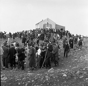 Between 50.000 and 60.000 pilgrims, young and old, from all parts of Ireland and abroad, climbed the rugged slopes of Croagh Patrick to take part in the annual pilgrimage.<br /> <br /> 29th July 1962