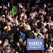 U.S. Sen. Elizabeth Warren, D-Mass., takes the stage during an event to formally launch her presidential campaign, Saturday, Feb. 9, 2019, in Lawrence, Mass. Photo: George Richardson
