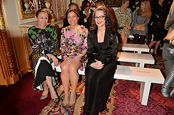 Left to right, CAROLINE RUSH,  MIRIAM CLEGG and DR FRANCES CORNER at the LDNY Fashion Show and WIE Award Gala sponsored by Maserati held at The Goldsmith's Hall, Foster Lane, City of London on 27th April 2015.