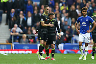 Gary Cahill of Chelsea (l) celebrates with Eden Hazard after scoring his teams 2nd goal. Premier league match, Everton v Chelsea at Goodison Park in Liverpool, Merseyside on Sunday 30th April 2017.<br /> pic by Chris Stading, Andrew Orchard sports photography.
