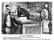 """All the Difference! Haberdasher (to assistant who has had the """"swop""""). """"Why has that lady gone without buying?"""" Assistant. """"We haven't got what she wants."""" Haberdasher. """"I'll soon let you know, Miss, that I keep you to sell what I've got, and not what people want!"""""""
