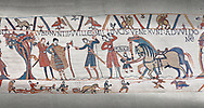 Bayeux Tapestry scene 10:  William sends messengers to Guy de Ponthieu ordering Harolds release. .<br /> <br /> If you prefer you can also buy from our ALAMY PHOTO LIBRARY  Collection visit : https://www.alamy.com/portfolio/paul-williams-funkystock/bayeux-tapestry-medieval-art.html  if you know the scene number you want enter BXY followed bt the scene no into the SEARCH WITHIN GALLERY box  i.e BYX 22 for scene 22)<br /> <br />  Visit our MEDIEVAL ART PHOTO COLLECTIONS for more   photos  to download or buy as prints https://funkystock.photoshelter.com/gallery-collection/Medieval-Middle-Ages-Art-Artefacts-Antiquities-Pictures-Images-of/C0000YpKXiAHnG2k