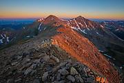 Sunrise on Colorado Front Range peaks, Gray Peak 14,270ft and Torrey Peak 14,267ft.