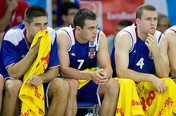 Milenko Tepic, Ivan Paunic and Bojan Popovic of Serbia during the basketball match at 1st Round of Eurobasket 2009 in Group C between Slovenia and Serbia, on September 08, 2009 in Arena Torwar, Warsaw, Poland. Slovenia won 84:76. (Photo by Vid Ponikvar / Sportida)