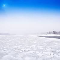 February 5, 2015 winter scene along the Damariscotta River from Schooner Landing's outdoor eating deck.