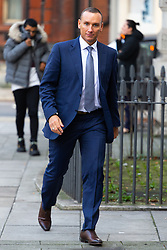 Half-a-million-a-year city trader Danny Fenn at Westminster Magistrates Court in London where he is appearing on charges of threatening behaviour at Waterloo station. London, January 11 2019.