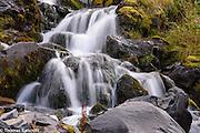 Water cascades over small boulders in Killen Creek.