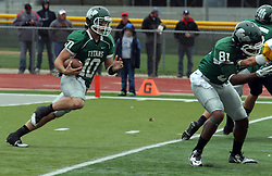 18 October 2014:  Donovan Laible (QB) decides to run during an NCAA division 3 football game between the Augustana Vikings and the Illinois Wesleyan Titans in Tucci Stadium on Wilder Field, Bloomington IL