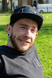 Mitch Castledine, 32, an Australian Londoner from Wandsworth gives his views on Brexit on Clapham Common in South London. London, March 24 2019.
