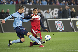 April 29, 2018 - Bronx, New York, United States - New York City defender BEN SWEAT (2) blocks a cross by FC Dallas midfielder SANTIAGO MOSQUERA (11) during a regular season match at Yankee Stadium in Bronx, NY.  NYCFC defeats FC Dallas 3 to 1. (Credit Image: © Mark Smith via ZUMA Wire)