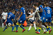 Spurs Harry Kane (10) shoots during the The FA Cup 3rd round match between Tottenham Hotspur and AFC Wimbledon at Wembley Stadium, London, England on 7 January 2018. Photo by Robin Pope.