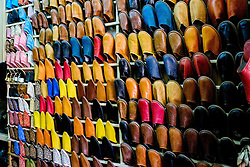 Leather slippers for sale in the Medina in Marrakech, Morocco, North Africa<br /> <br /> (c) Andrew Wilson | Edinburgh Elite media