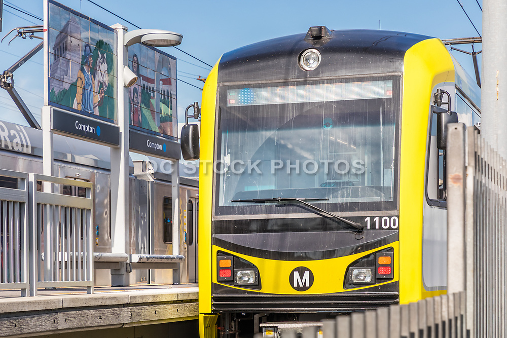 Metro Rail Parked at Compton Blue Line Station