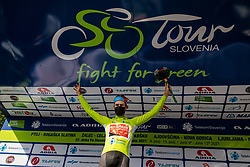 Winner Phil BAUHAUS of BAHRAIN VICTORIOUS celebrates in green jersey at trophy ceremony after the 1st Stage of 27th Tour of Slovenia 2021 cycling race between Ptuj and Rogaska Slatina (151,5 km), on June 9, 2021 in Slovenia. Photo by Vid Ponikvar / Sportida