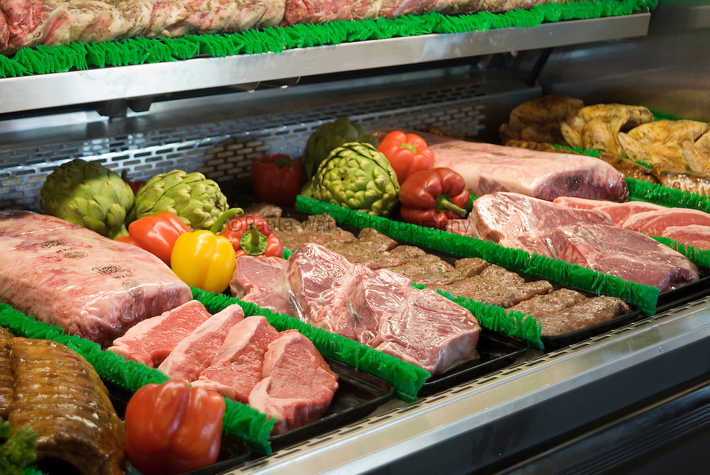 Grocery store meat display