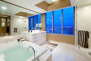 Marble Bathroom In A High Rise Condo With A View