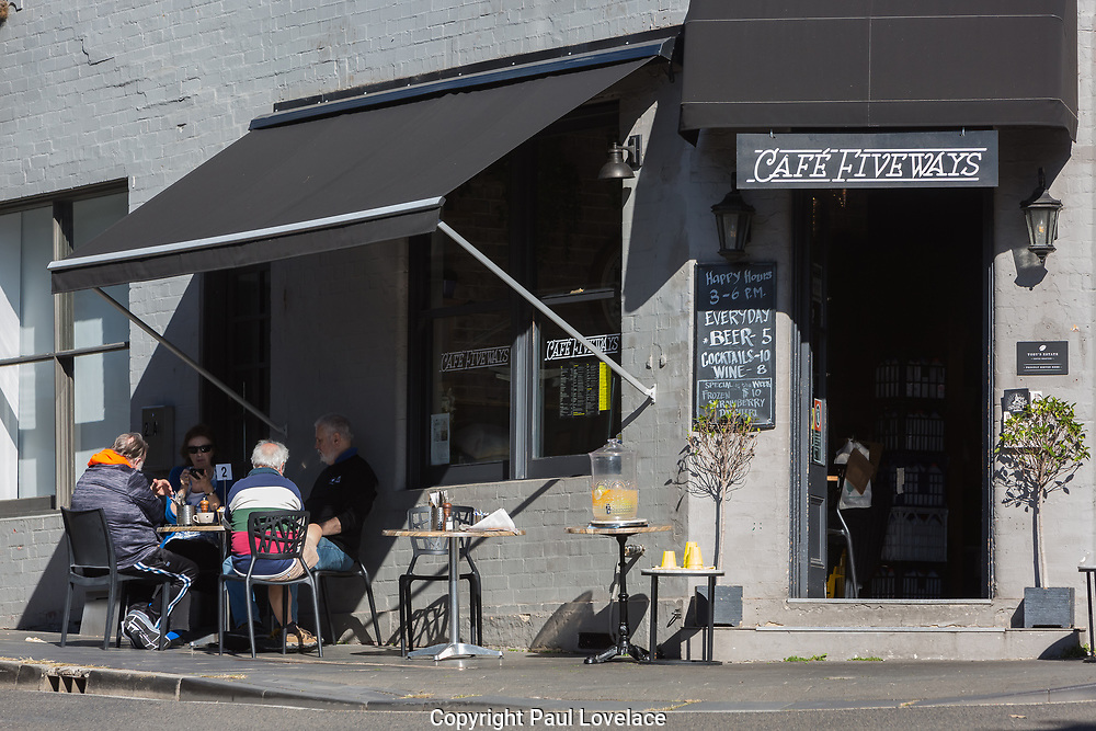 Sydney, Australia. Tuesday 19th May 2020. People enjoying cafe life again at Fiveways, Paddington in Sydney's eastern suburbs. Since May 15th Cafes, restaurants, and hotel dining areas are able to reopen but can only serve 10 guests at a time as the coronavirus pandemic restrictions ease. Credit Paul Lovelace-Alamy Live News