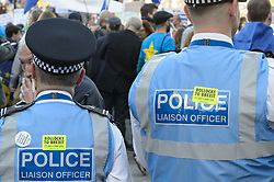 © Licensed to London News Pictures. 20/10/2018. London, UK. Police with Bollocks to Brexit stickers. Protesters join the People's Vote March in central London to call on government to give the public a vote on the final Brexit deal. Photo credit: Andre Camara/LNP