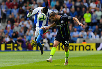 BRIGHTON, ENGLAND - MAY 12:    Yves Bissouma (8) of Brighton and Hove Albion and Bernardo Silva (20) of Manchester City battle for possession during the Premier League match between Brighton & Hove Albion and Manchester City at American Express Community Stadium on May 12, 2019 in Brighton, United Kingdom. (MB Media)