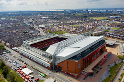 LIVERPOOL, ENGLAND - Friday, April 30, 2021: An aerial view of Anfield, the home stadium of Liverpool Football Club. (Pic by David Rawcliffe/Propaganda)