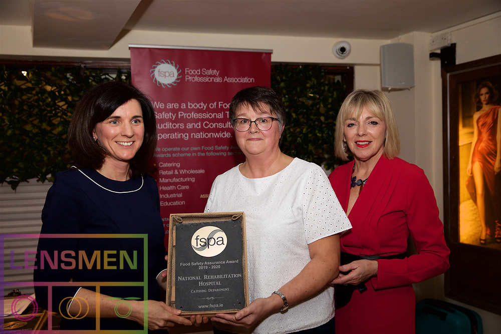 National Rehabilitation Hospital, Catering Department<br /> 1.Eibhlin O'Leary. Training & Compliance Manager, Food Safety Authority of Ireland<br /> 2.Lorraine Oman, FSAI, on behalf of Hospital<br /> 3.Mary Daly. Chairperson, FSPA