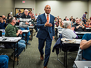 18 NOVEMBER 2019 - DES MOINES, IOWA: Former Governor DEVAL PATRICK (D-MA) walks to the podium at the Polk County Democrats' meeting in Des Moines Monday night. Gov. Patrick made his first campaign trip to Iowa Monday after announcing his candidacy to be the Democratic nominee for the US Presidency. His stops included a meeting of the Polk County Democrats in Des Moines. Iowa hosts the first presidential selection event of the 2020 presidential election cycle. The Iowa Caucuses are Feb. 3, 2020.           PHOTO BY JACK KURTZ