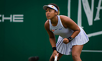 Naomi Osaka of Japan in action during her first-round match at the 2019 Nature Valley Classic WTA Premier tennis tournament