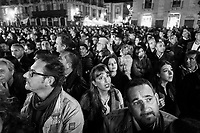 CATANIA, ITALY - 28 OCTOBER 2017: Supporters of the  Five Star Movement (Italian: Movimento 5 Stelle, or M5S) candidate Giancarlo Cancelleri, running for governor of Sicily in the upcoming Sicilan regional election, listen to his speech during a rally in Catania, Italy, on October 28th 2017. <br /> <br /> The Sicilian regional election for the renewal of the Sicilian Regional Assembly and the election of the President of Sicily will be held on 5th November 2017.