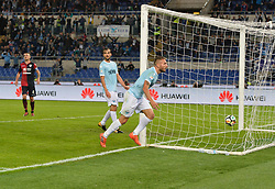 October 22, 2017 - Rome, Italy - Ciro Immobile kicks gol 2 -0 during the Italian Serie A football match between S.S. Lazio and Cagliari at the Olympic Stadium in Rome, on october 22, 2017. (Credit Image: © Silvia Lore/NurPhoto via ZUMA Press)