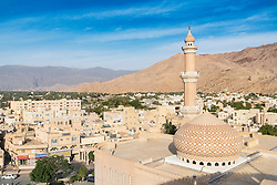 View of Nizwa Mosque and city of Nizwa  from Nizwa Fort in Nizwa Oman