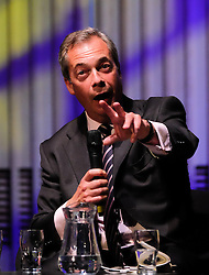 © Licensed to London News Pictures. <br /> 20/06/2016. <br /> Gateshead, UK.  <br /> <br /> UKIP leader Nigel Farage answers questions at a public meeting on the European Union referendum held by the Leave campaign at the Sage building in Gateshead. <br /> <br /> The meeting was held to try and persuade voters to vote leave in the European Referendum when the country goes to the polls on June 23rd.  <br /> <br /> Photo credit: Ian Forsyth/LNP