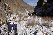 Leh - Tuesday, Dec 05 2006: Lorna Brooks walks along the main path into the Rumbak Valley in Hemis National Park. On her left is a river bed. (Photo by Peter Horrell / http://www.peterhorrell.com)