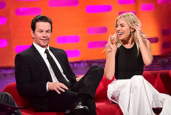 Mark Wahlberg and Sienna Miller during filming of the Graham Norton Show at the London Studios, to be aired on BBC One on Friday evening.