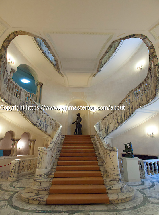 Ornate staircase in Museum of Art in Bucharest Romania